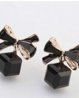 Black Out Gold Bow Cubic Crystal Stud Earrings