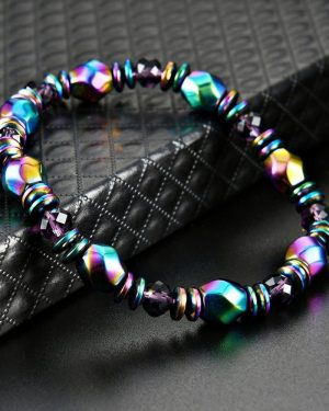 Natural Black Stone Hematite Beaded Bracelets