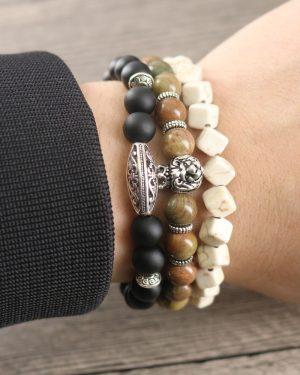 Natural Stones Hematite Lava Handmade Beaded Bracelets